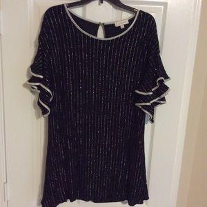 Black And Silver Sparkle Striped Tunic